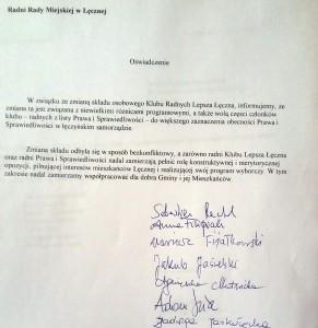 Oświadczenie LŁ
